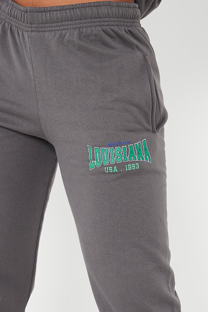 Charcoal Louisiana Graphic Oversized Joggers view 5