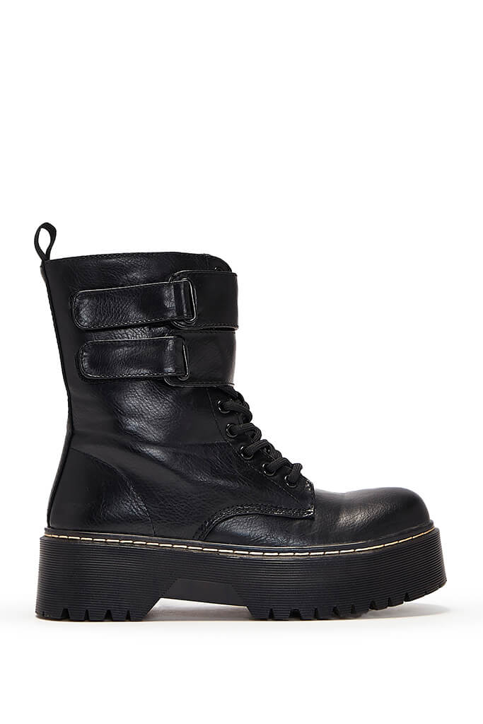 Black Faux Leather Strap Detail Lace Up Platform Boots view 2