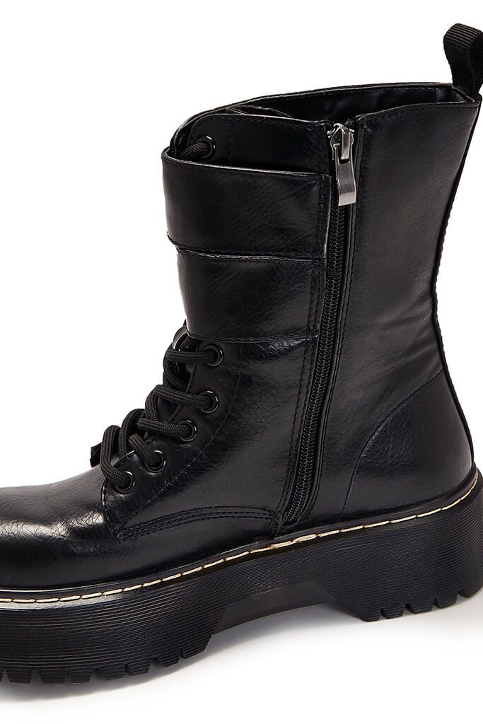 Black Faux Leather Strap Detail Lace Up Platform Boots view 3
