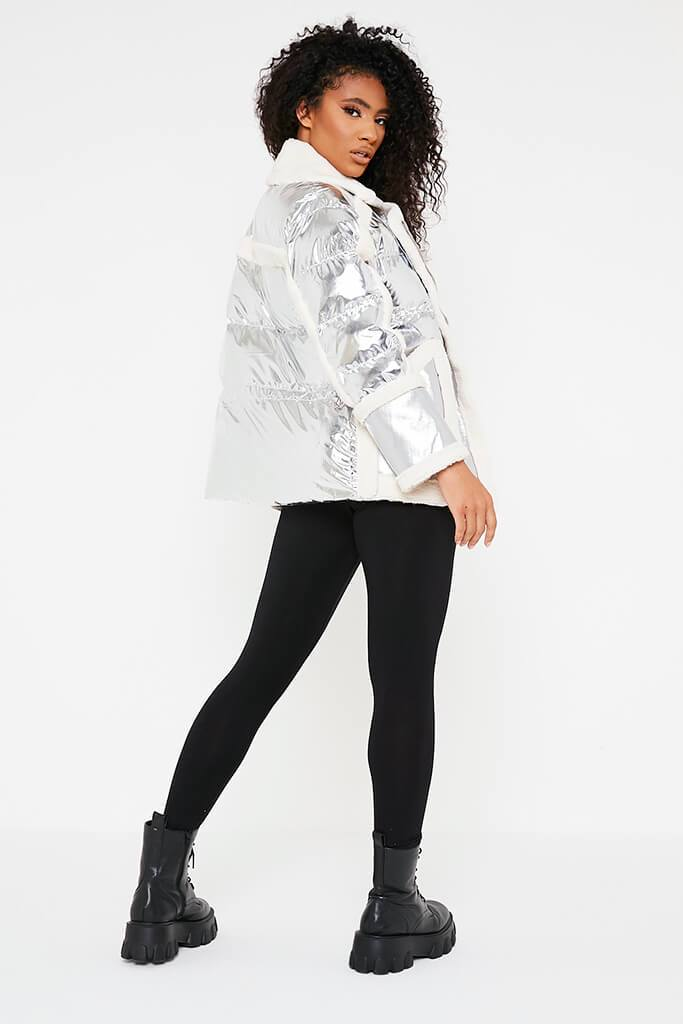 Silver Oversized Borg Detail Aviator Jacket view 4