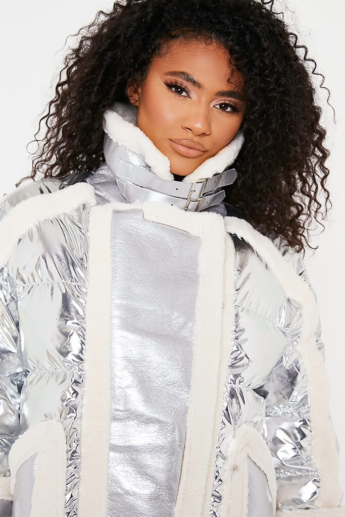 Silver Oversized Borg Detail Aviator Jacket view 5