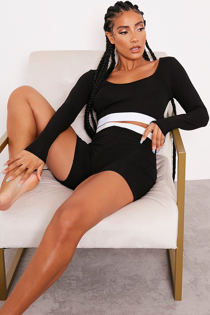 Black Taped Crop Top And Short Nightwear Set