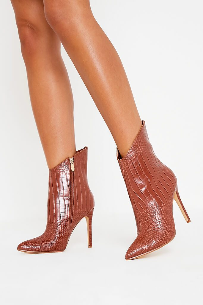 Tan Croc Heeled Ankle Boots