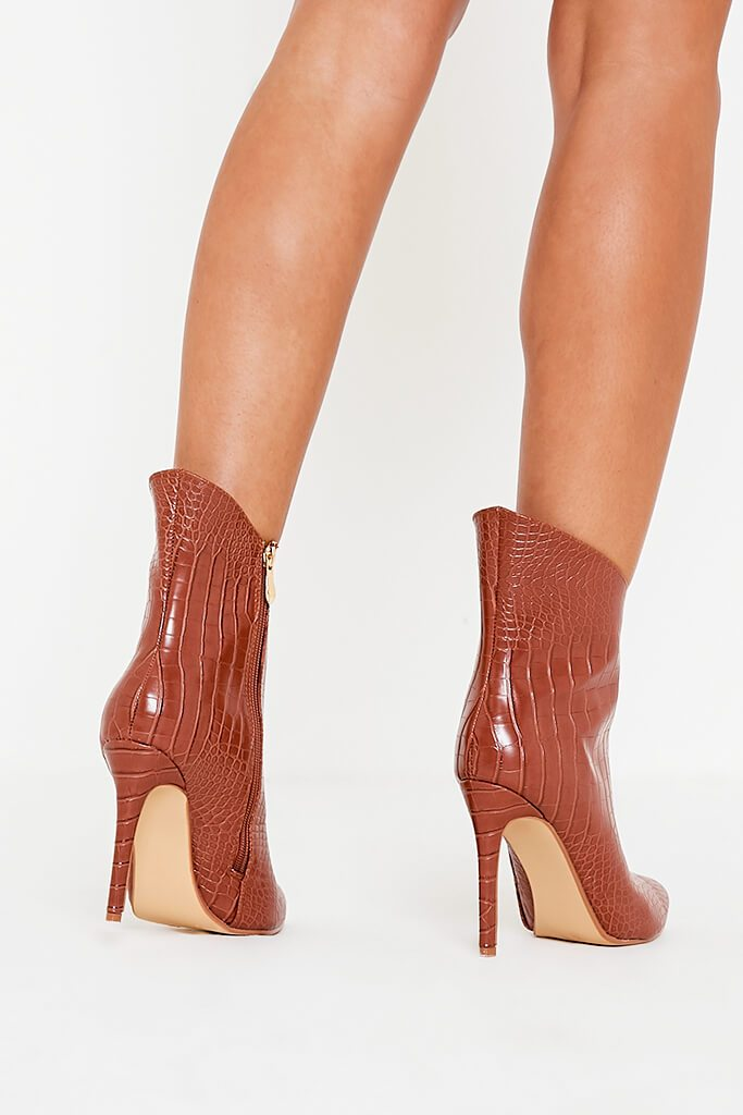 Tan Croc Heeled Ankle Boots view 2