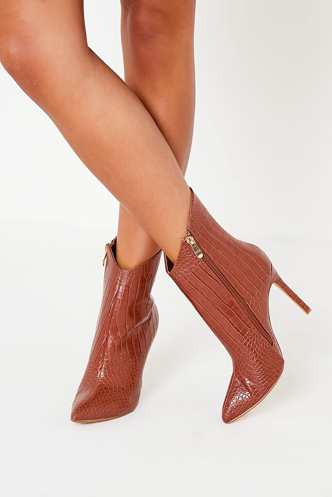 Tan Croc Heeled Ankle Boots view 3
