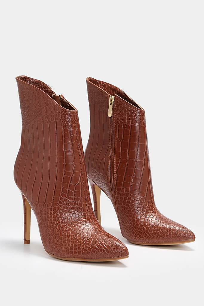 Tan Croc Heeled Ankle Boots view 4