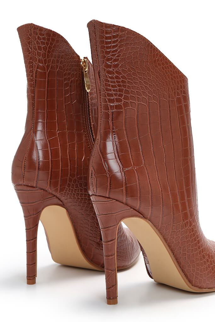 Tan Croc Heeled Ankle Boots view 5