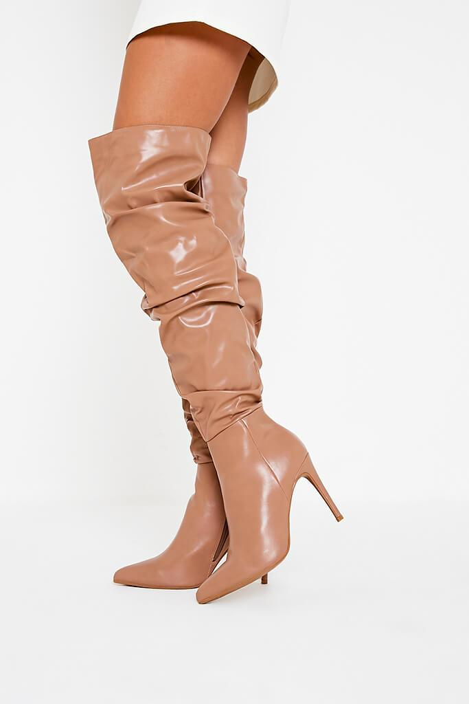 Stone Faux Leather Ruched Over The Knee Boots