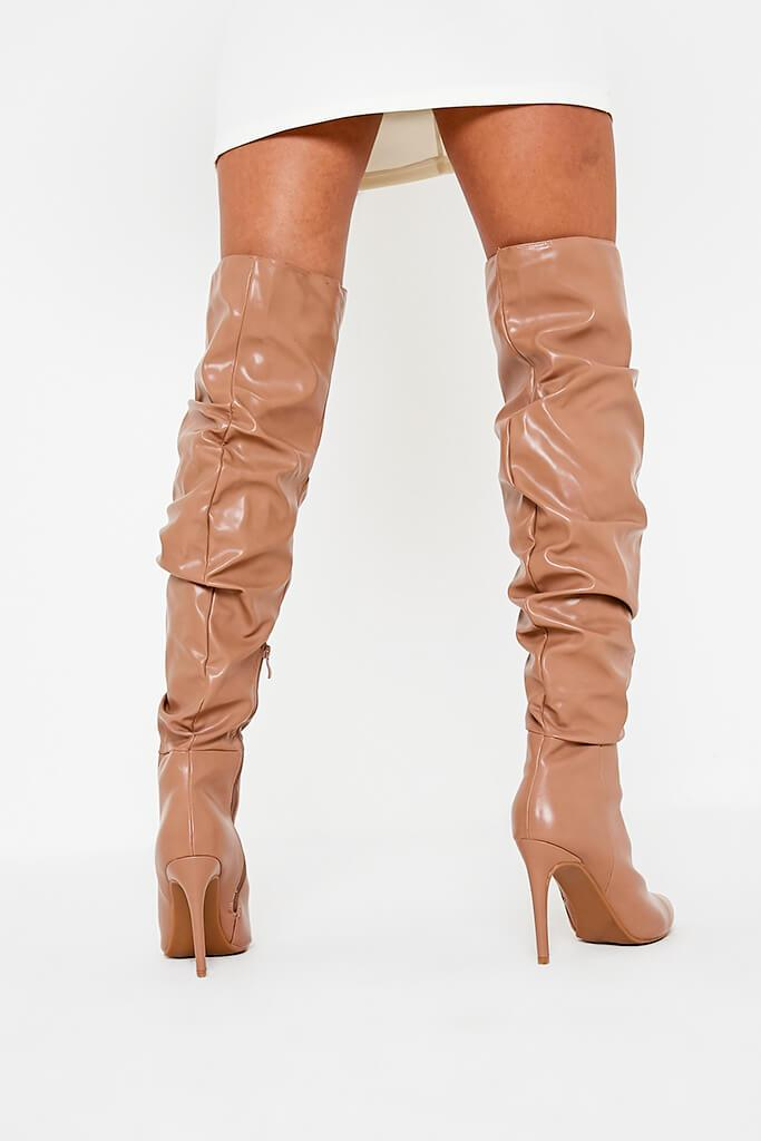 Stone Faux Leather Ruched Over The Knee Boots view 3
