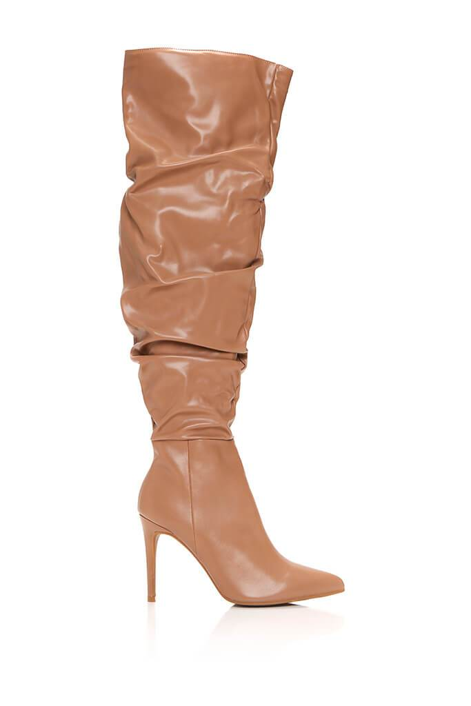 Stone Faux Leather Ruched Over The Knee Boots view 4