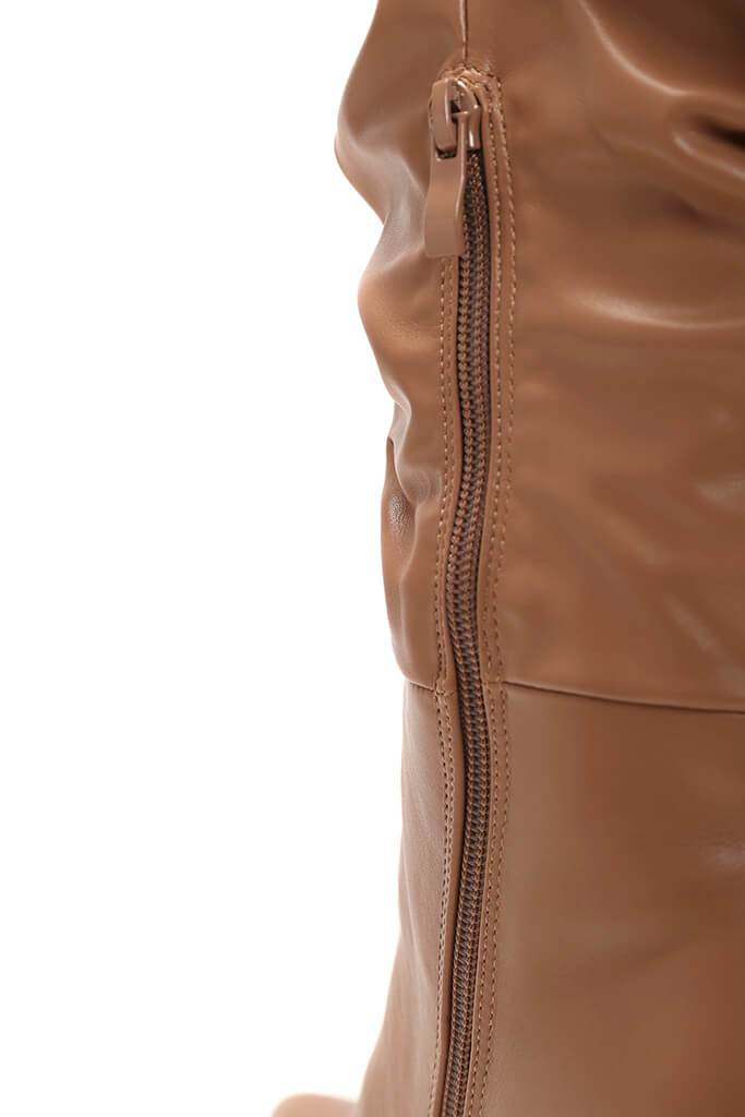 Stone Faux Leather Ruched Over The Knee Boots view 5