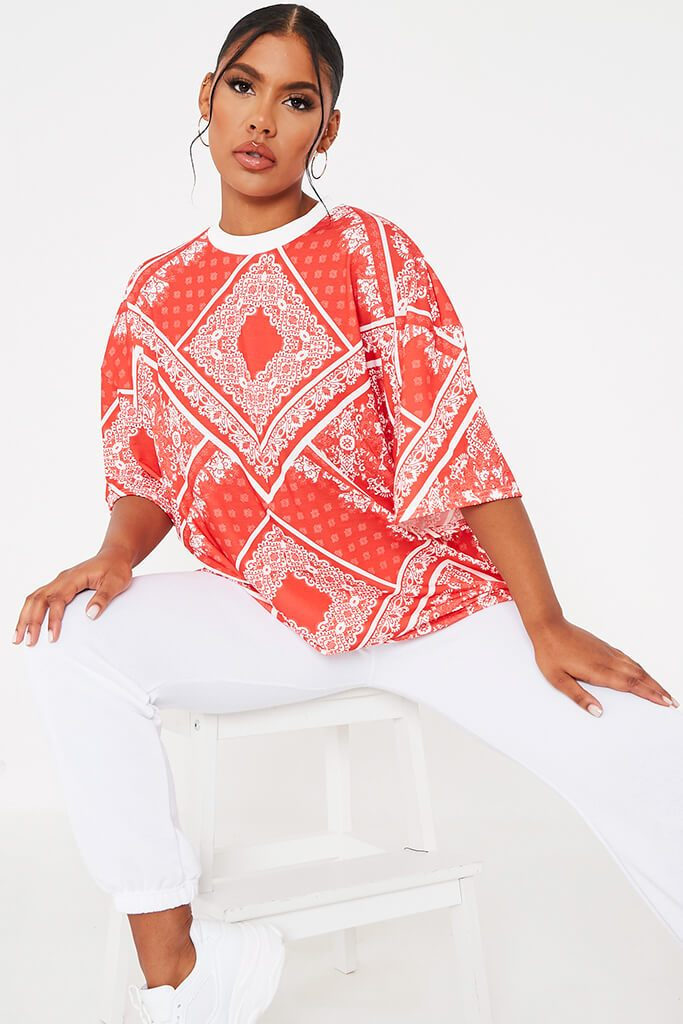 Red Bandana Print Crew Neck Oversized T-Shirt