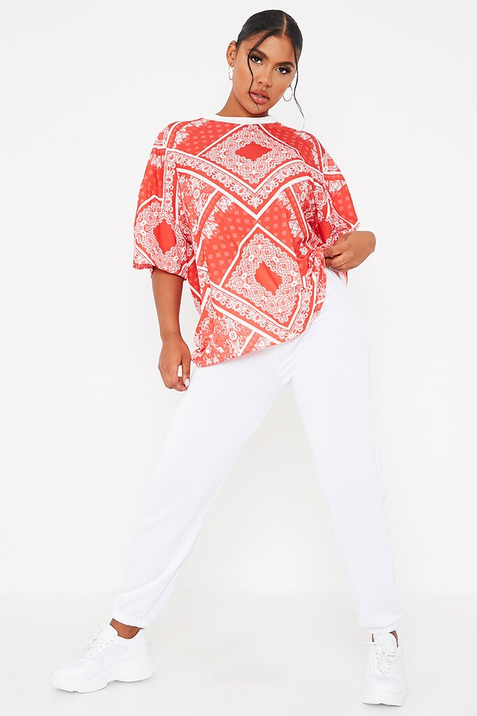 Red Bandana Print Crew Neck Oversized T-Shirt view 2