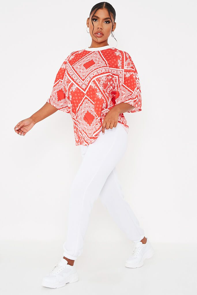 Red Bandana Print Crew Neck Oversized T-Shirt view 3