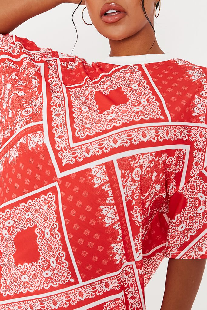 Red Bandana Print Crew Neck Oversized T-Shirt view 5