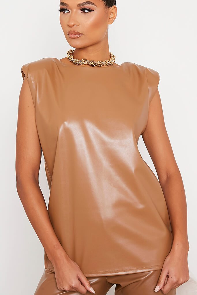 Taupe Faux Leather Shoulder Pad Sleeveless Top view 5