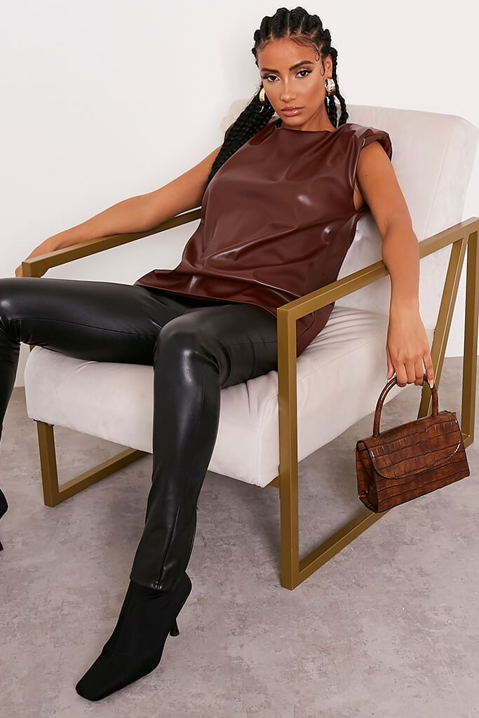 Chocolate Faux Leather Shoulder Pad Sleeveless Top view 2