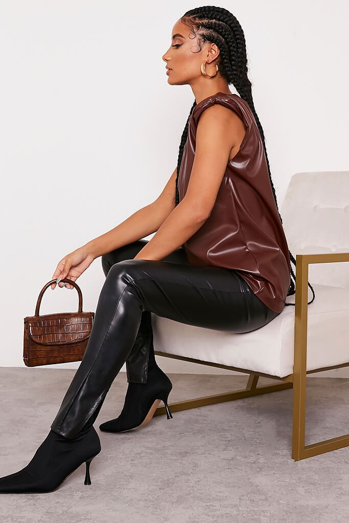 Chocolate Faux Leather Shoulder Pad Sleeveless Top view 3