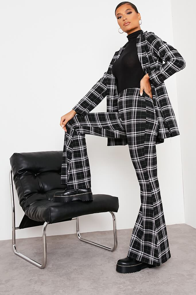 Black Checked Flare Trousers view 3