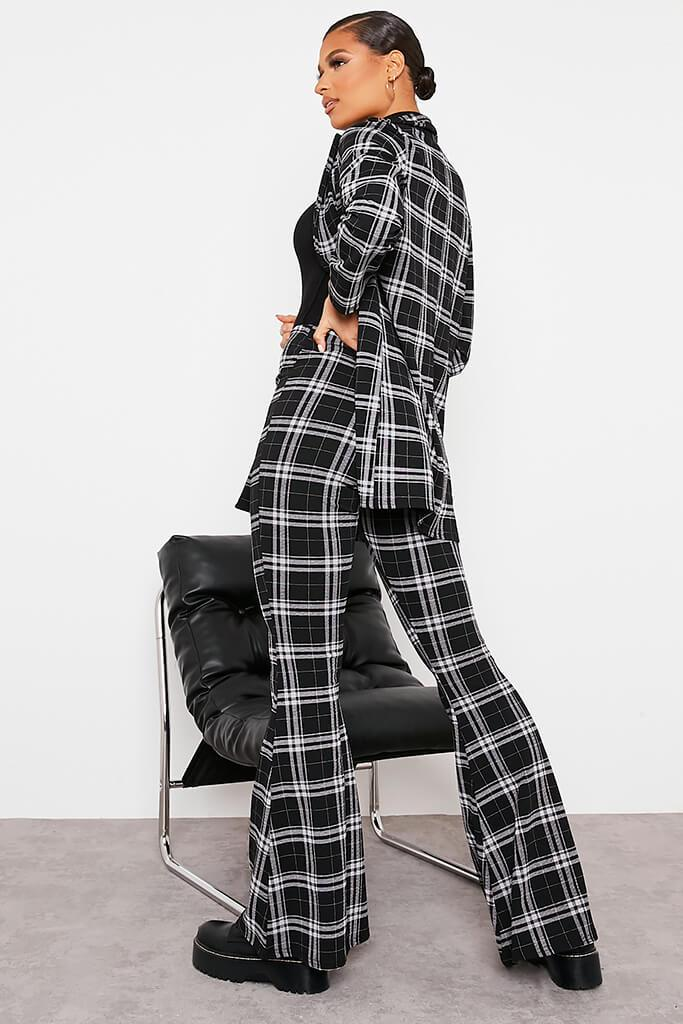 Black Checked Flare Trousers view 4