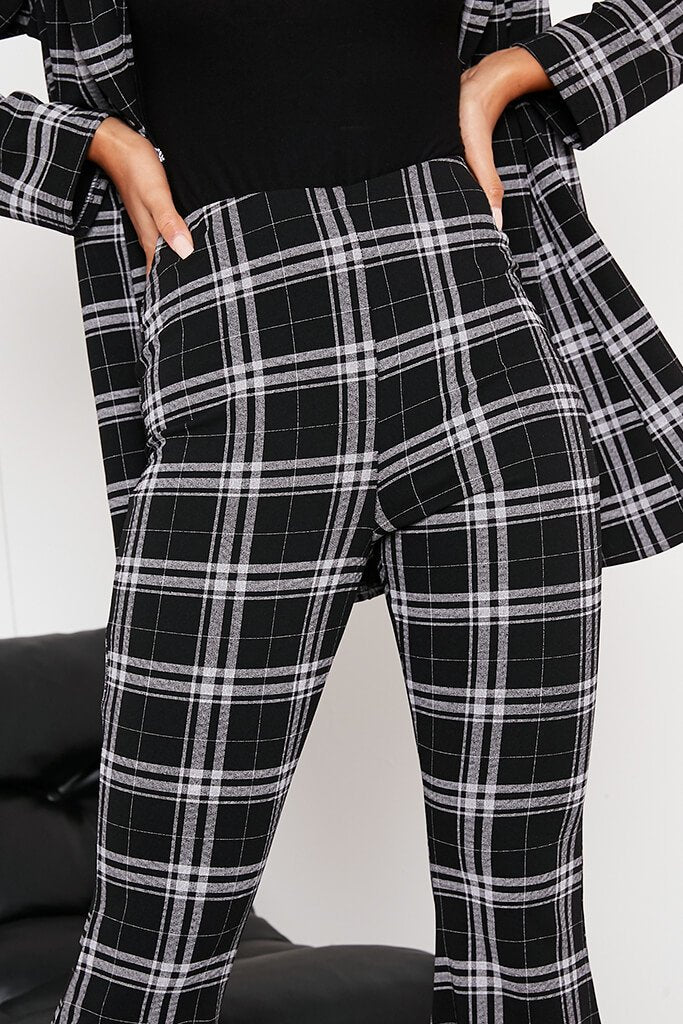 Black Checked Flare Trousers view 5