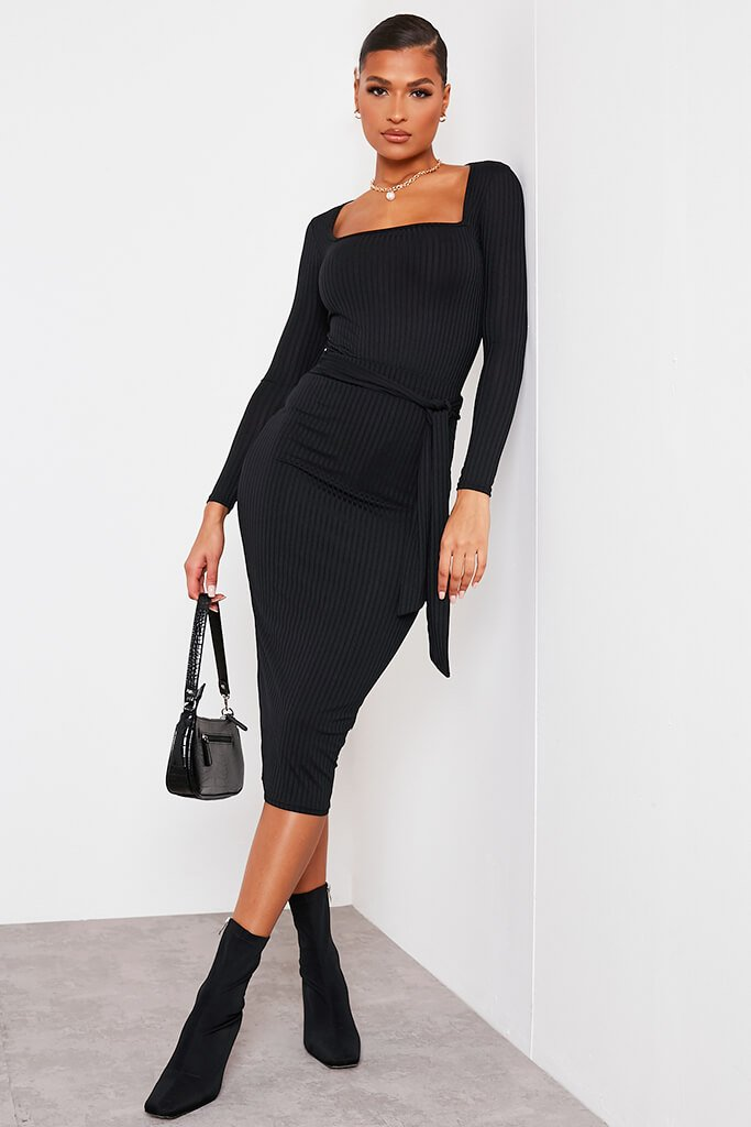 Black Ribbed Midi Tie Waist Skirt