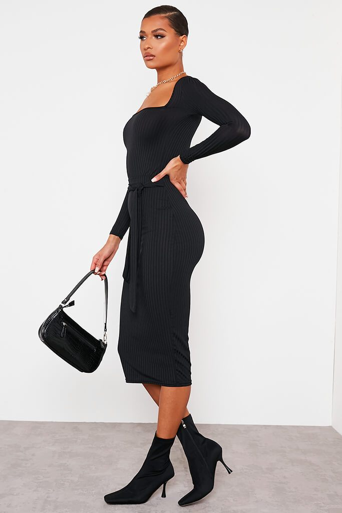 Black Ribbed Midi Tie Waist Skirt view 3