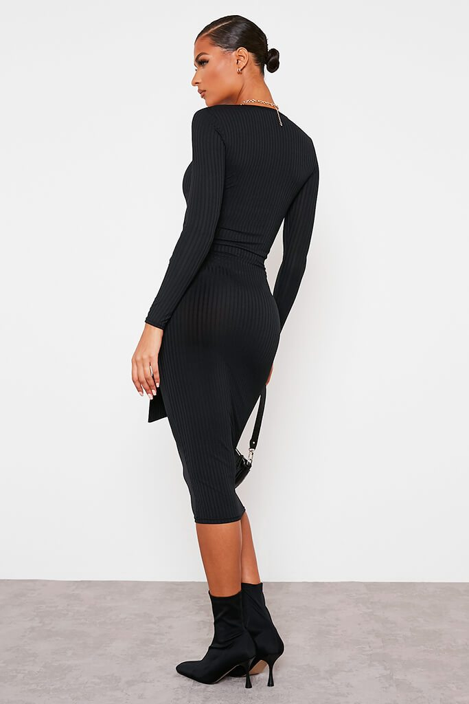 Black Ribbed Midi Tie Waist Skirt view 4
