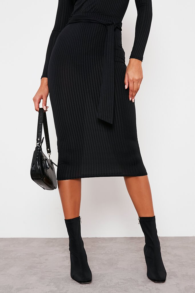 Black Ribbed Midi Tie Waist Skirt view 2