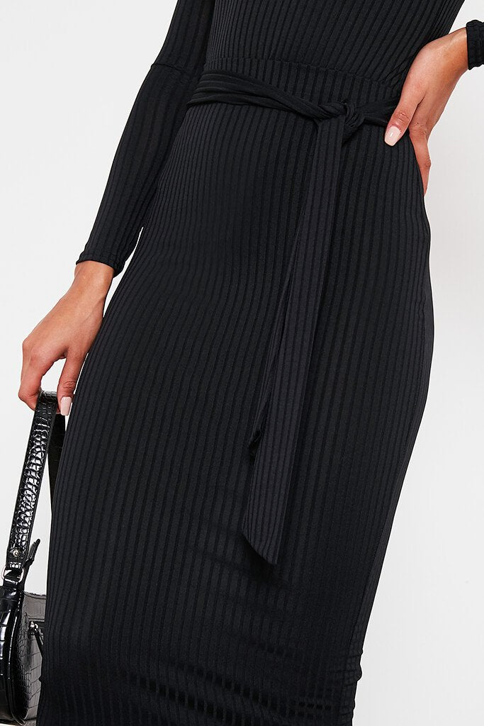 Black Ribbed Midi Tie Waist Skirt view 5