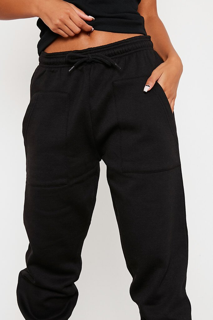 Black Utility Pocket Tie Front Oversized Jogger view 5