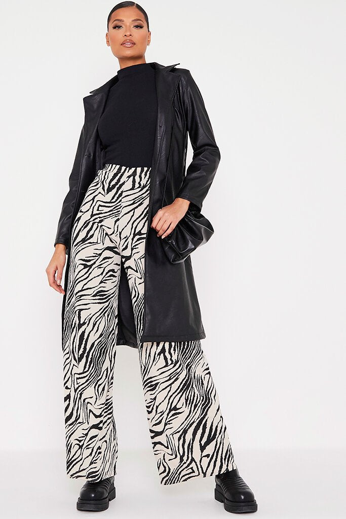 Stone Ribbed Zebra Print Wide Leg Trousers