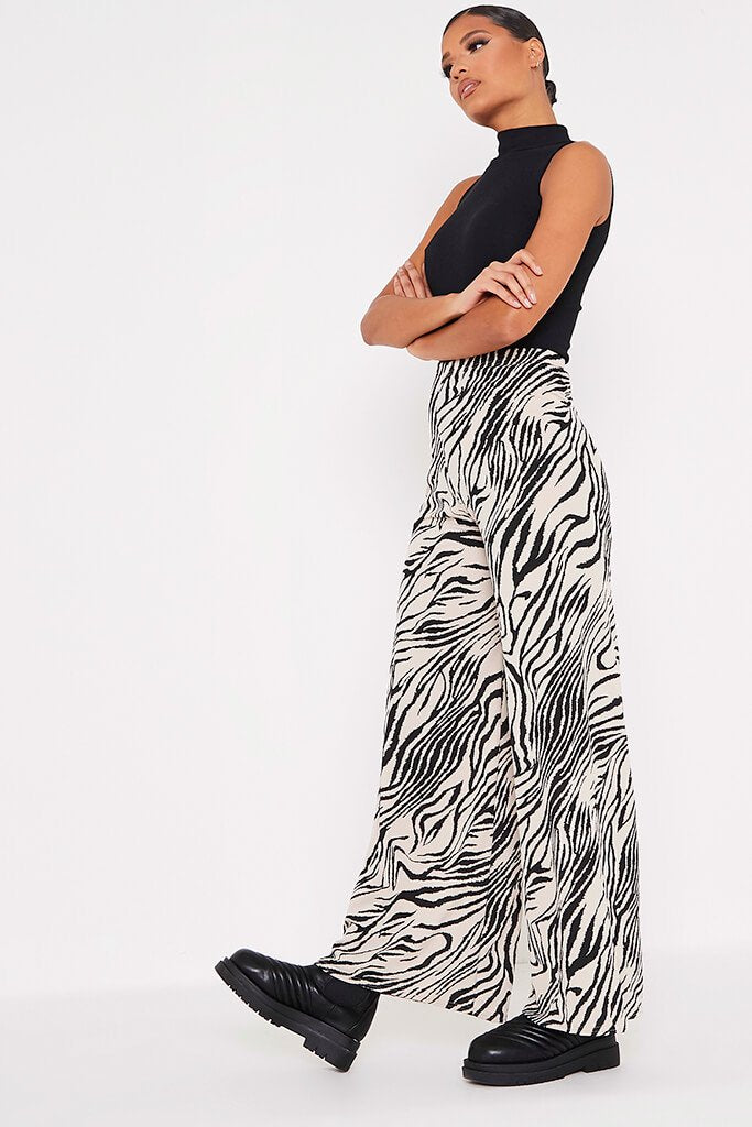 Stone Ribbed Zebra Print Wide Leg Trousers view 3