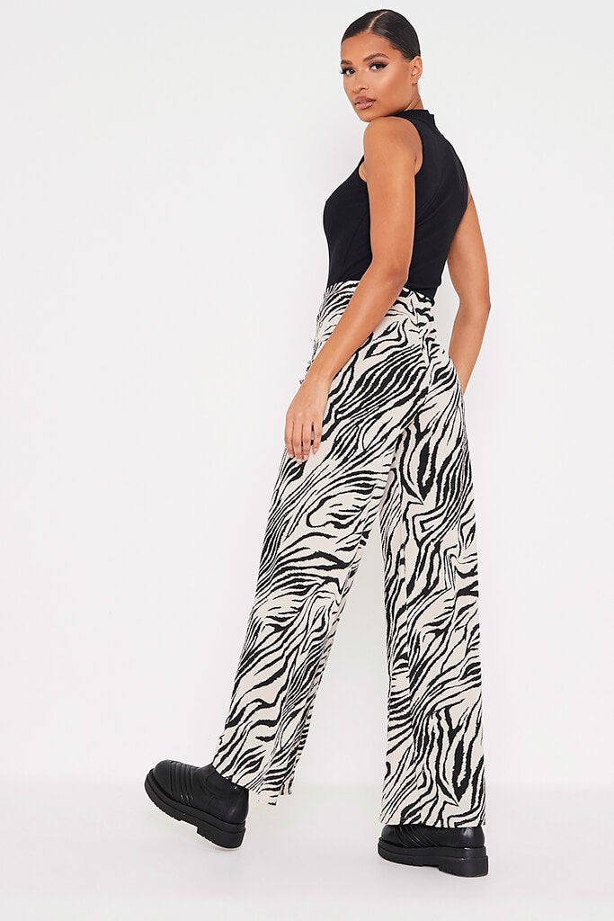 Stone Ribbed Zebra Print Wide Leg Trousers view 4