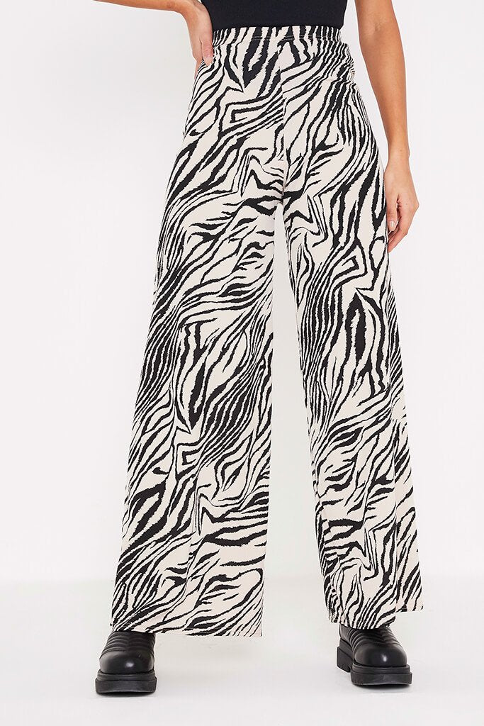 Stone Ribbed Zebra Print Wide Leg Trousers view 2