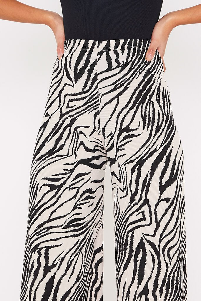Stone Ribbed Zebra Print Wide Leg Trousers view 5