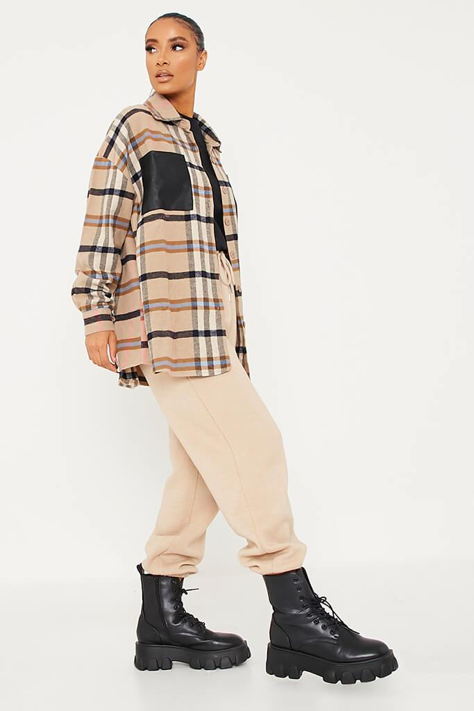 Stone Woven Check Faux Leather Pocket Oversized Shirt view 3