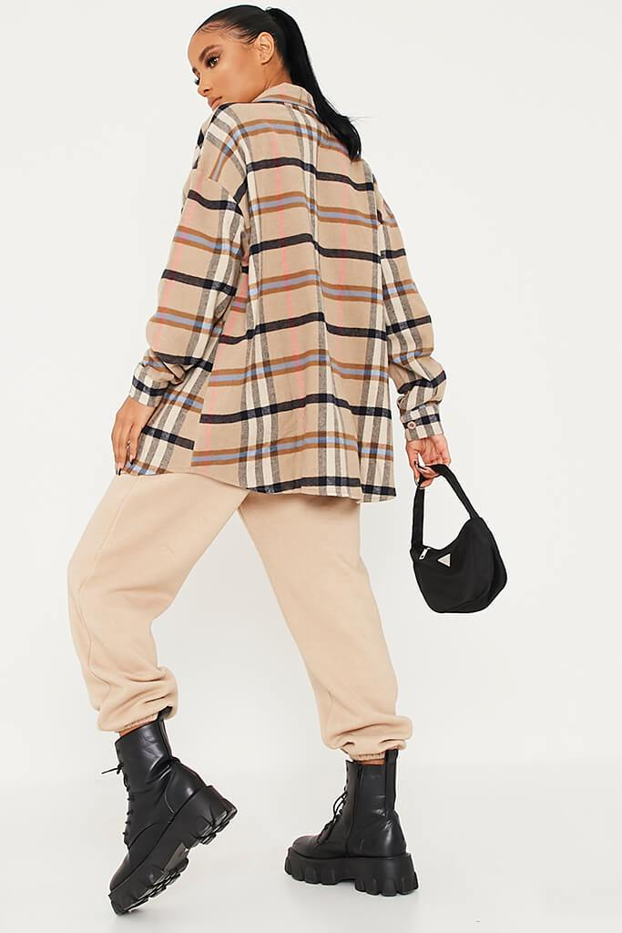 Stone Woven Check Faux Leather Pocket Oversized Shirt view 4