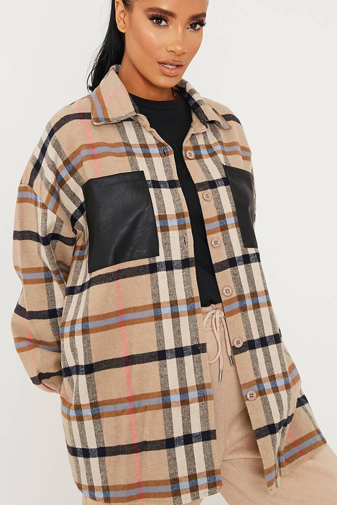 Stone Woven Check Faux Leather Pocket Oversized Shirt view 5