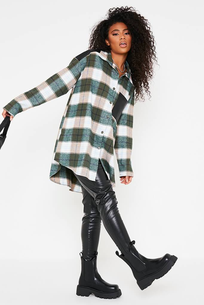 Emerald Green Woven Check Faux Leather Panel Oversized Shirt view 3