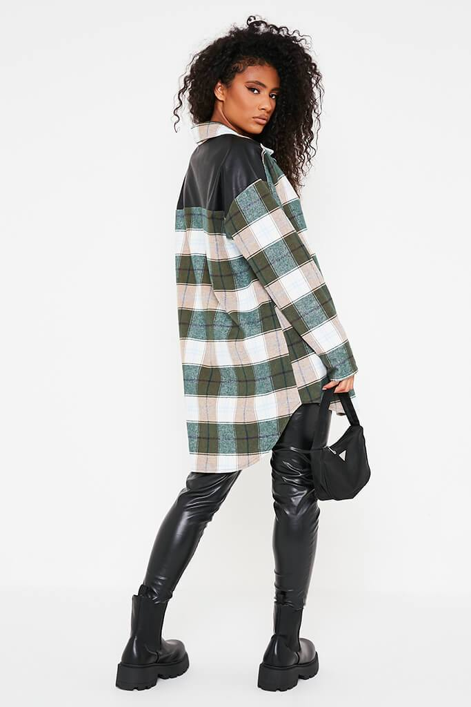 Emerald Green Woven Check Faux Leather Panel Oversized Shirt view 4