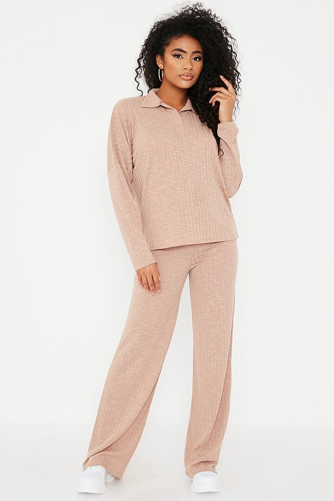 Taupe Jumbo Soft Rib Oversized Polo Top view 2