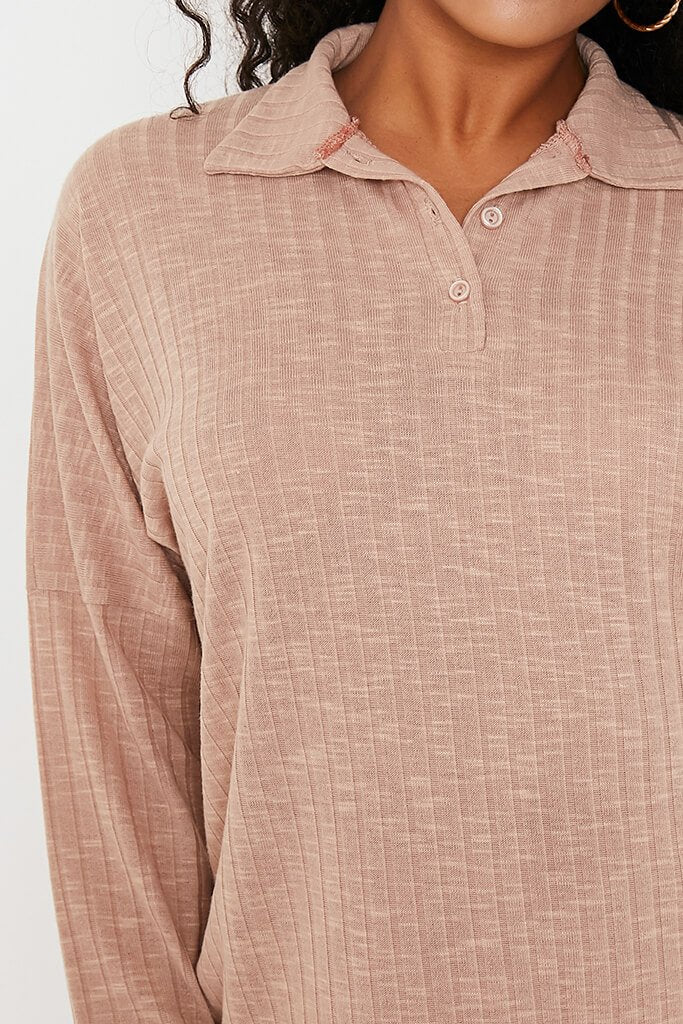 Taupe Jumbo Soft Rib Oversized Polo Top view 5