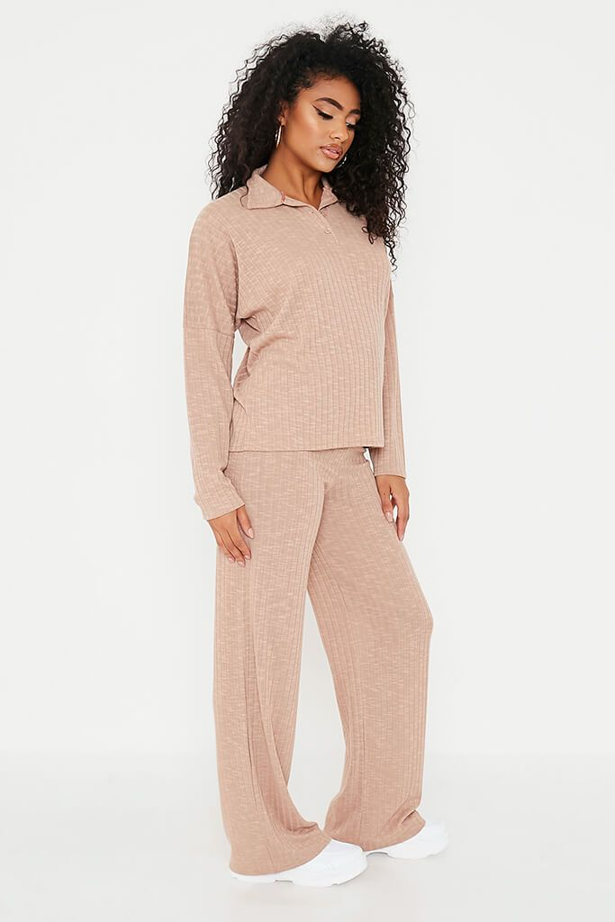 Taupe Jumbo Soft Rib Oversized Polo Top view 3