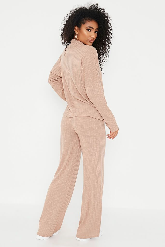 Taupe Jumbo Soft Rib Oversized Polo Top view 4