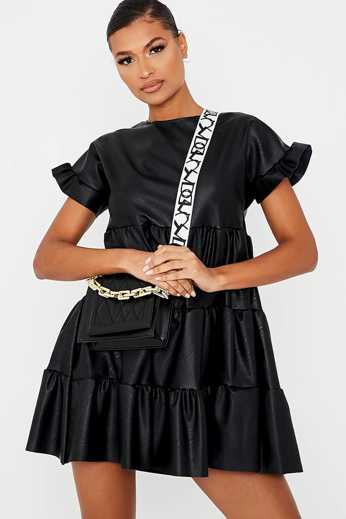 Black Faux Leather Tiered Smock Dress