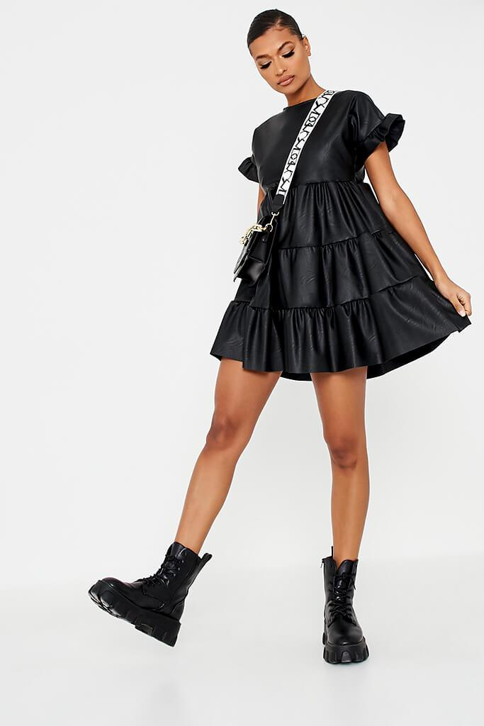 Black Faux Leather Tiered Smock Dress view 2