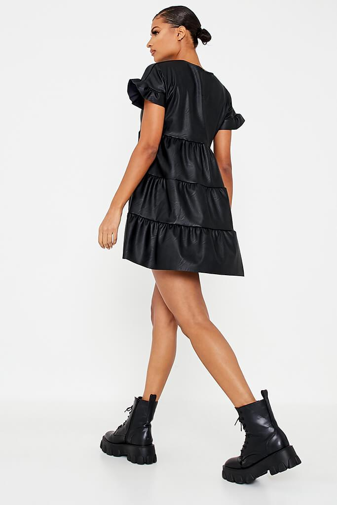 Black Faux Leather Tiered Smock Dress view 4