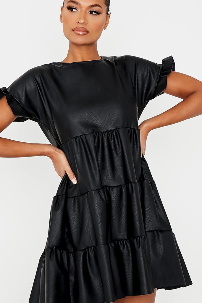 Black Faux Leather Tiered Smock Dress view 5
