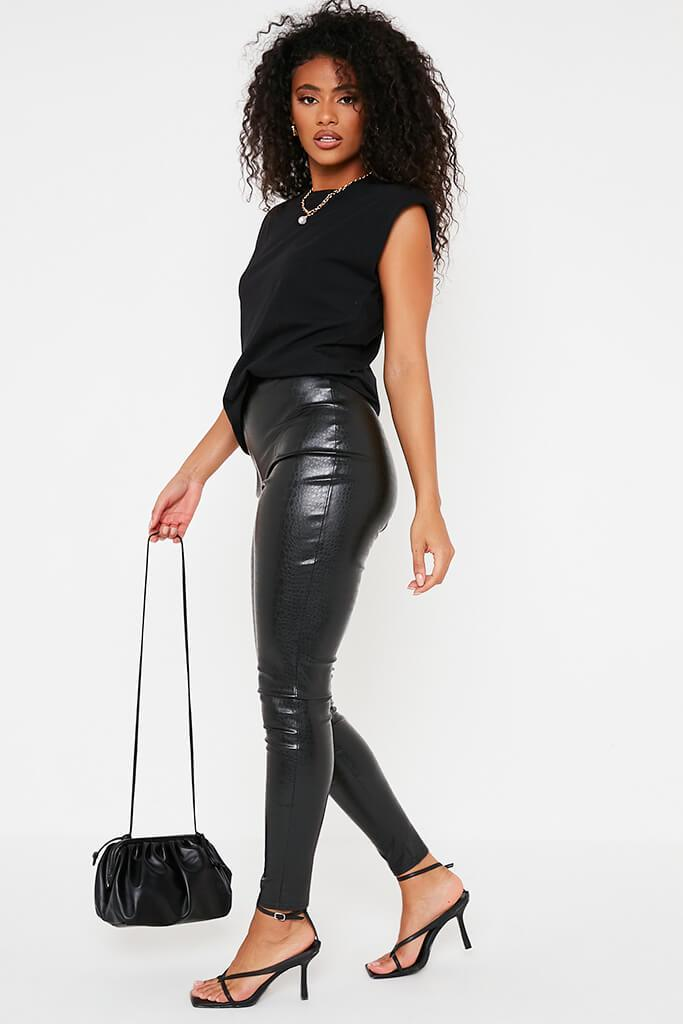 Black Croc Faux Leather Skinny Leggings view 3